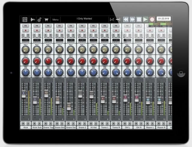 Auria 48-track audio recorder for iPad
