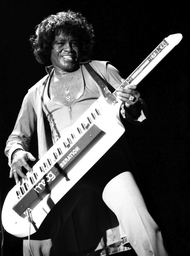 James Brown with a Keytar, looking Superbad