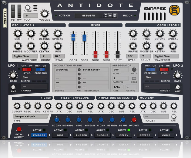 New Antidote Rack Extension Synth Features Up To 800 Oscillators – Synthtopia