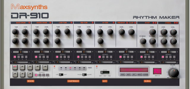 new virtual instrument maxsynths dr 910 inspired by roland tr 909 drum machine synthtopia. Black Bedroom Furniture Sets. Home Design Ideas