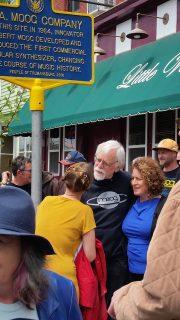 Michelle Moog-Koussa and David Borden unveil R. A. Moog historical marker.